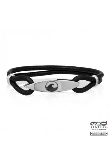 Board and Wave Black Leather Bracelet