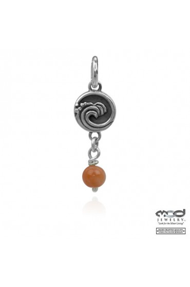 Wave with pink coral bead charm