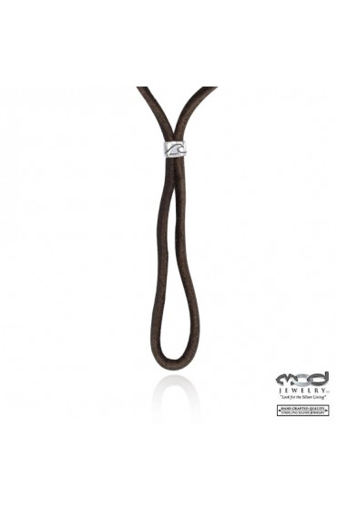 Dark Brown Buck Skin Leather with Sterling Silver Toggle