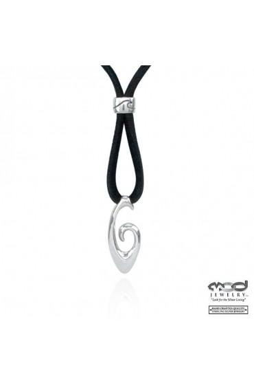 Hook shape necklace on 2mm deer skin cord