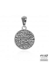Japanese shakudo wave women's pendant