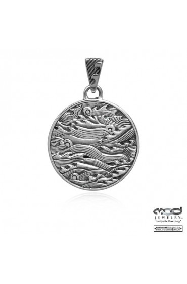 Japanese shakudo wave men's pendant
