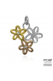 Rose gold plate, yellow gold plate flower pendant