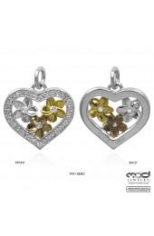 Rose gold, yellow gold plate flower heart pendant