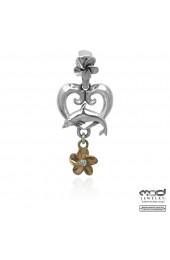 Dolphin flower heart pendant