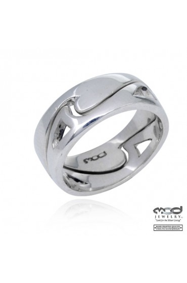 Sterling silver ring pair wave with cutout wave