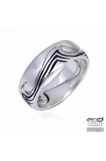 Sterling silver ring pair wave with wave oxidised