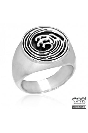 Japanese wave men's ring