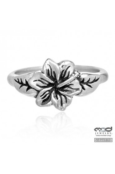 MOD Surf Hibiscus with leaves ring