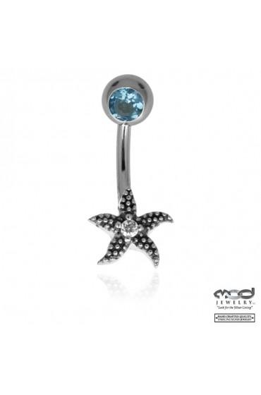 Starfish blue stone belly jewel