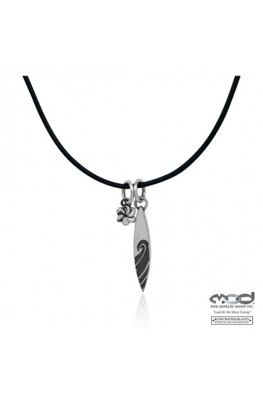 """Shortboard """"Soul Mates"""" Necklace on Leather Cord"""